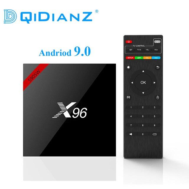 DQiDianZ New Android 9.0 X96 Smart TV BOX S905W Quad Core 2.4G Wireless WIFI Set Top Box Media X96W