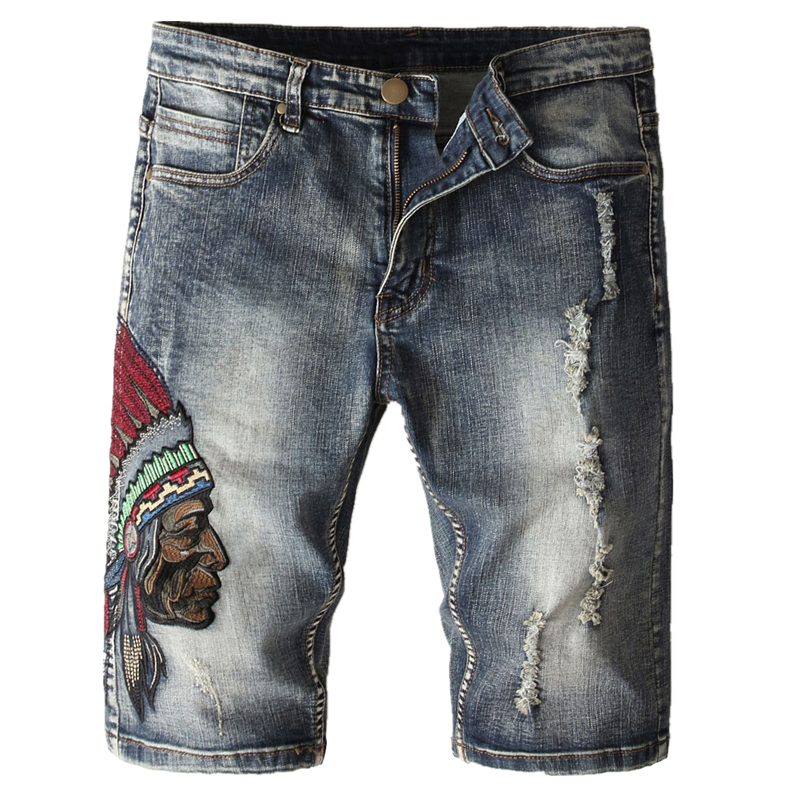 Jeans Shorts Skinny Knee-Length Men's Summer Retro Embroidery X132 Ripped Indiana