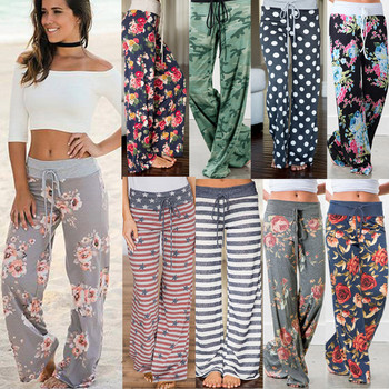 2021 Spring and Autumn Plus Size Women's Full Length Wide Legs High Waist Printed Loose Casual Beach Pants 1