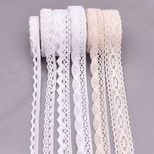 Rollo de corte de encaje blanco/beige, cintas de ganchillo de 5/10 yardas, decoración para manualidades tejido de costura para fiesta de boda, accesorios hechos a mano para regalo