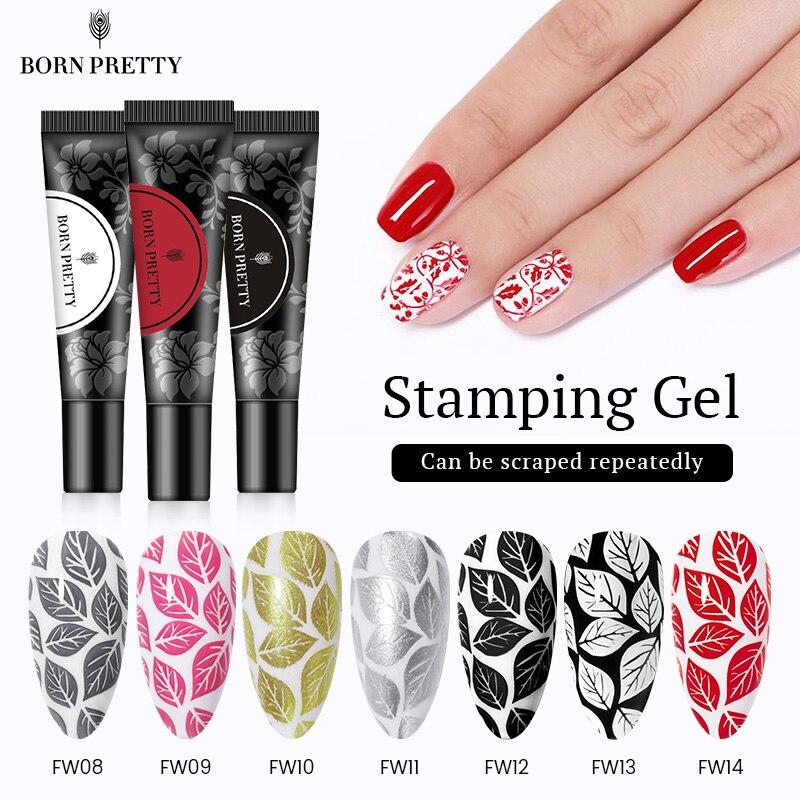 BORN PRETTY Гель-лак для ногтей с черно-белым печатным маслом УФ-Гель-лак отмачиваемый лак для пластина для стемпинга для нейл-арта