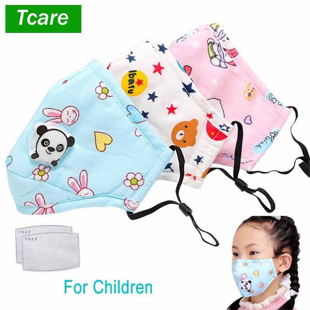 Tcare PM2.5 Children Mouth Mask Respiratory Valve Cartoon Panda Mask Warm Face Mask Fits 3-15 Years Old Kids