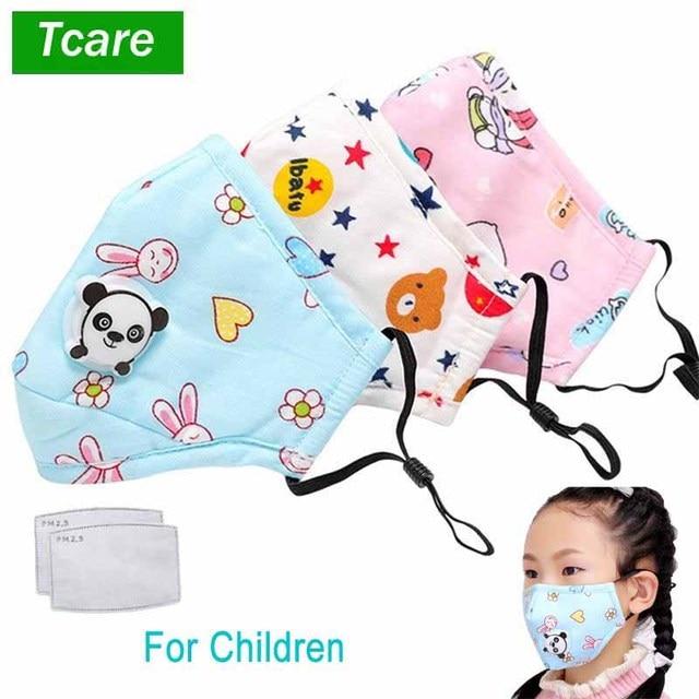 Tcare PM2.5 Kinderen Mond Masker Luchtwegen Klep Cartoon Panda Masker Warm Gezichtsmasker Past 3 15 Jaar Oude Kinderen