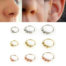 Round Beads Nose Ring Cartilage Tragus Septum Helix Lip Earring Hoop Stud Ear Cuff Nostril Hoop Body Piercing Jewelry(China)