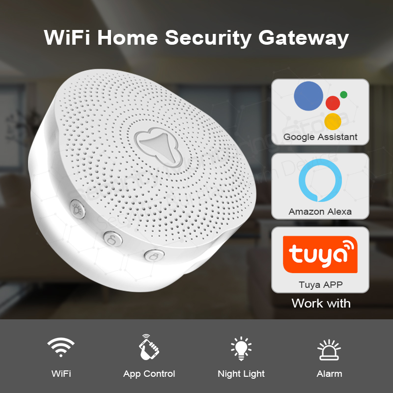KERUI Tuya Multifunctional Gateway WIFI Home Security Intelligent Smart Alarm System Work With Google Assistant/Alexa Control