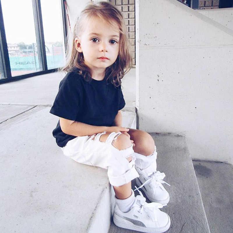 WeLaken moda yüksek bel pantolon kızlar büyük delik kot sonbahar çocuk pantolon çocuk kot pantolon giyim giysileri bebek bebek