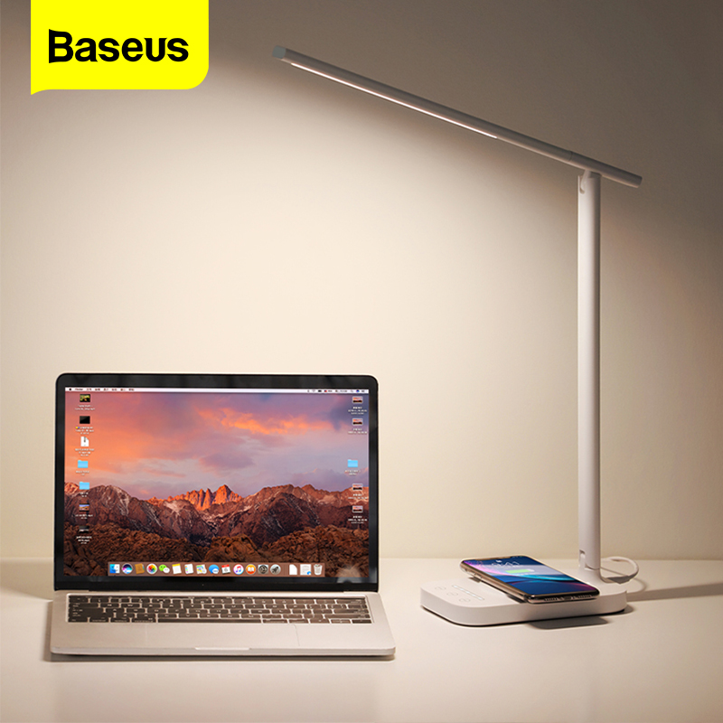 Baseus LED Table Lamp Qi Wireless Charger For iPhone Xs Samsung Folding Desktop Light 10W Fast Wireless Charging Pad Desk Lamp|Desk Lamps| |  - title=