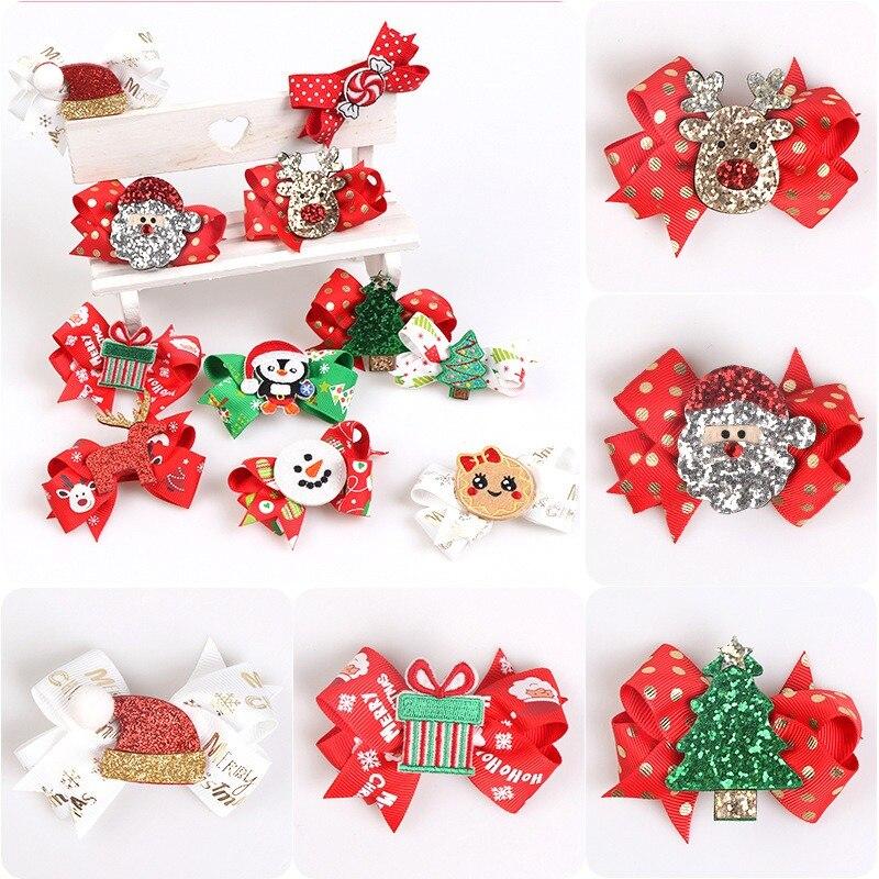 Christmas Print Hair Bows Cute Glitter Elk Hair Accessories Hair Clips For Kids Festival Gift