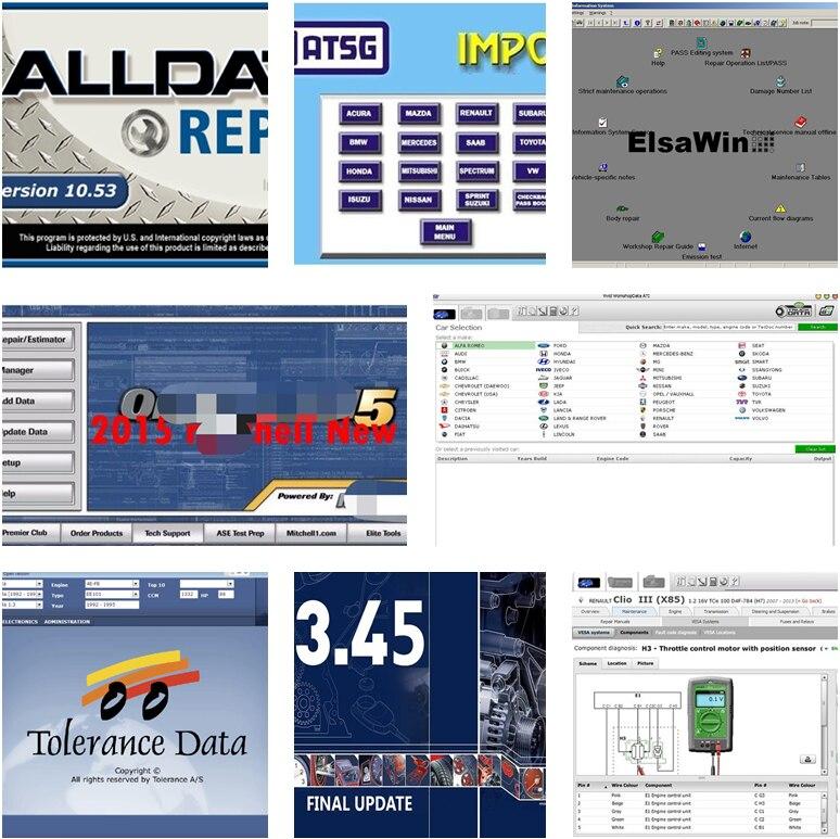Software da ferramenta de diagnóstico do carro alldata software mit .. chell od5 + vívido + elsa dados automáticos + tolerância dados atsg 8 em 1 tb hdd