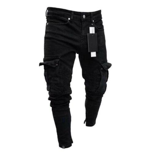 Men Biker Ripped Long Denim Trousers Skinny Jeans Pants Destroyed Stretchy-Black Pants