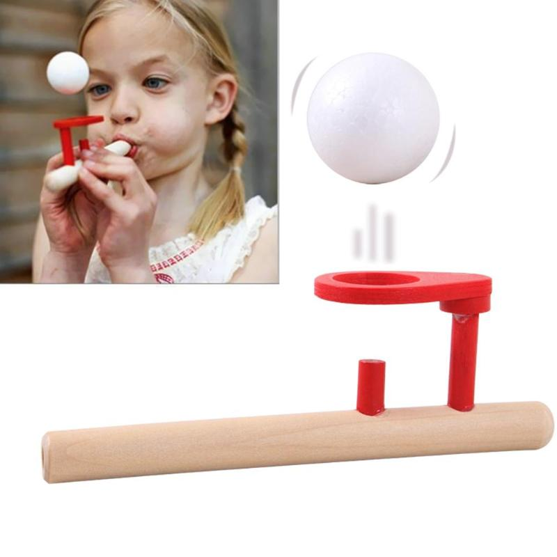 Baby Wooden Puzzle Toys Kids Blowing Ball Games Classic Bernoulli Theorem Principle Gadgets Ball Blower Nostalgic Toy