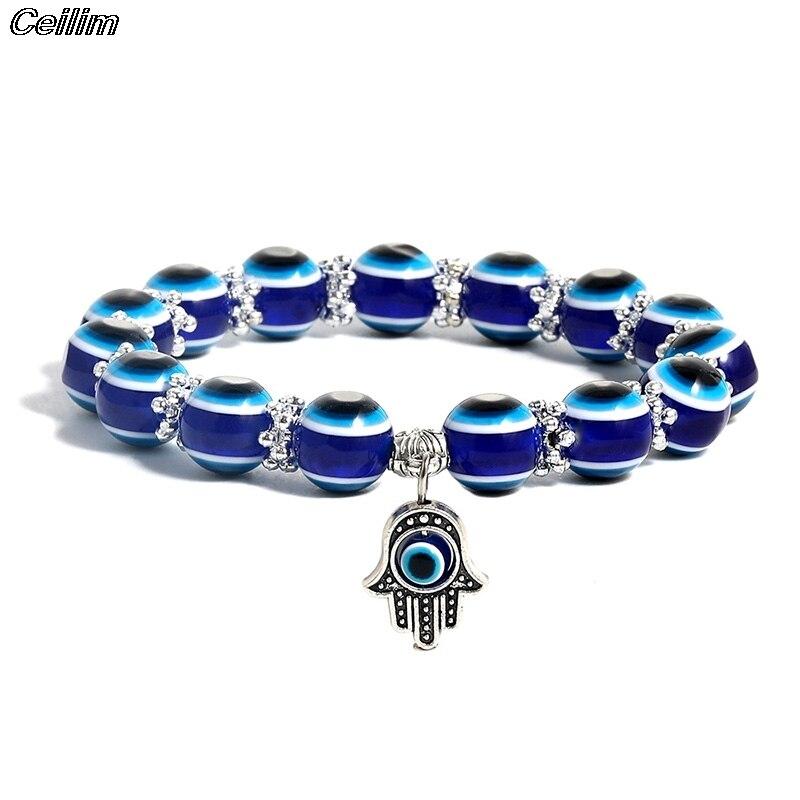 1pcs Evil Turkish Lucky Blue Eye Hamsa Hand Fatima Palm Bracelets For Women Bead Charm Bracelet Handmade Jewelry Dropship