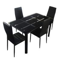 Rectangle Tempered Glass Dining Table and 4pcs High Backrest Dining Chairs Nine Block Box Pattern for Kitchens Dining Rooms