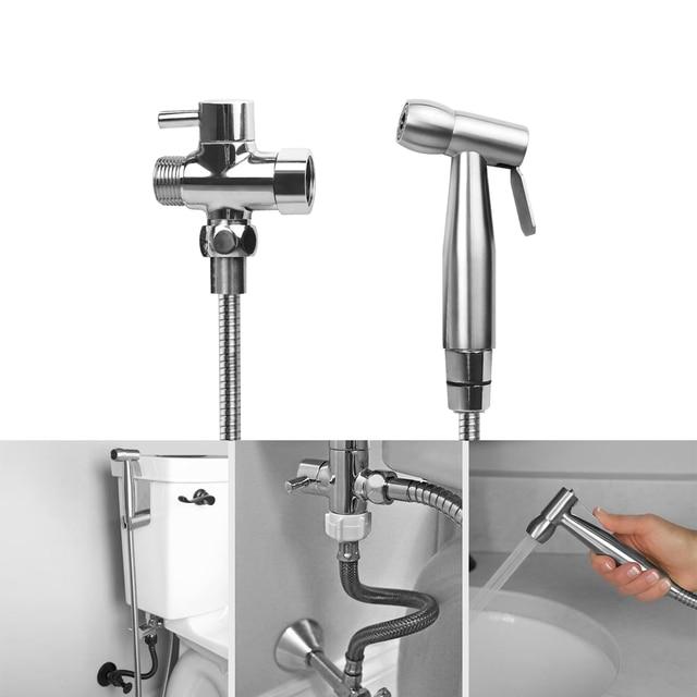 Hand Held Bidet Toilet Sprayer Kit Bathroom Cloth Diaper Washer Portable Shower Sprayer Stainless Steel For Hygiene US Type