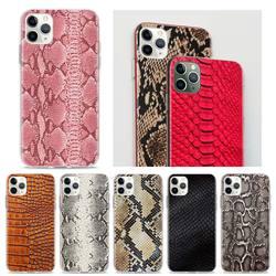 Funda de teléfono con patrón de serpiente de cuero rosa para iPhone, funda suave con patrón de serpiente para iPhone 12 mini 11 12 Pro Max 7 8 XR SE 2020 X XS Max 6 6s 7 8 Plus