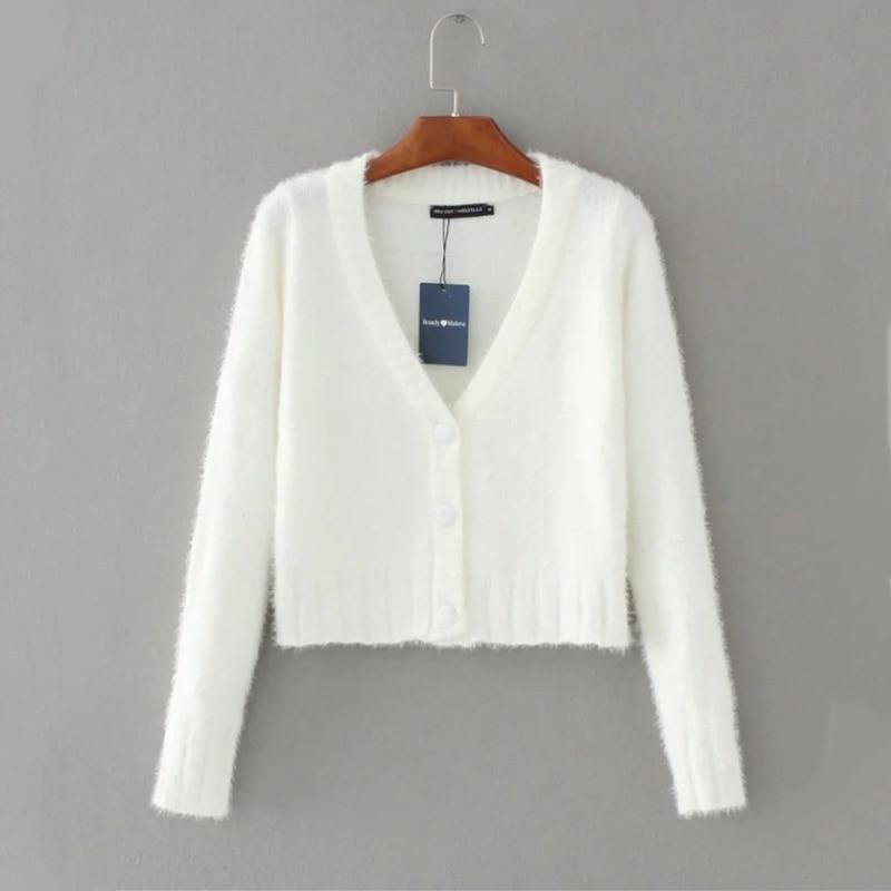 Укороченный свитер Kawaii, Женский вязаный Укороченный кардиган, уличная одежда с длинным рукавом, белый милый пушистый кардиган, женский свит...