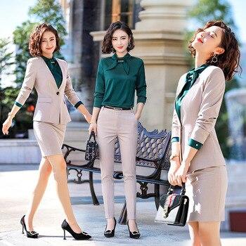 Hot Apircot Female Formal Women's Pants Suits Office Lady Business Pantsuit  Blazer Trouser Suit Set Work Wear Uniform Costumes-Leather bag