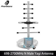 2G 3G 4G LTE zewnętrzna kierunkowa antena yagi dla wzmacniacz sygnału komórkowego 698 2700MHz wzmocnienie 9dBi N męskie złącze i 10m kabel