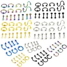 Earring Tragus Barbell Body-Jewelry Eyebrow Ear-Piercings Lip Steel 8/16pcs/lot