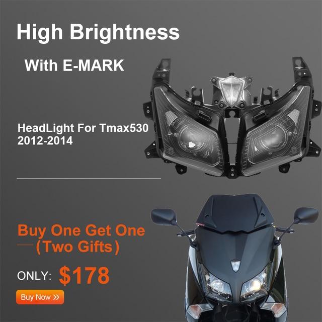 Tmax530 오토바이 헤드 라이트 용 yamaha tmax 530 프론트 헤드 램프 용 T MAX530 2012 2013 2014 어셈블리 램프 헤드 라이트 교체