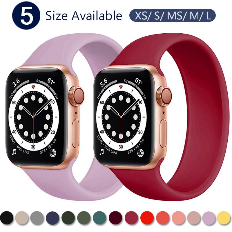 Ремешок силиконовый для Apple Watch 5 Band 40 мм 44 мм, эластичный браслет для соло iWatch Series 4/5/6/SE, 42 мм 38 мм