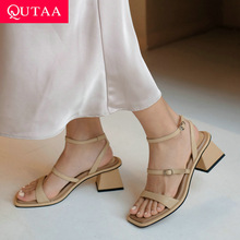 Women Shoes Sandals Buckle Open-Toed Middle-Heel Ladies Pumps Square Size-34-39 Summer