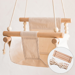 1Set Baby Swing Canvas Hanging Rocking Chair Hanging Toys Hammock Safety Baby Bouncer Outside Indoor Wooden Swing Rocker Toy