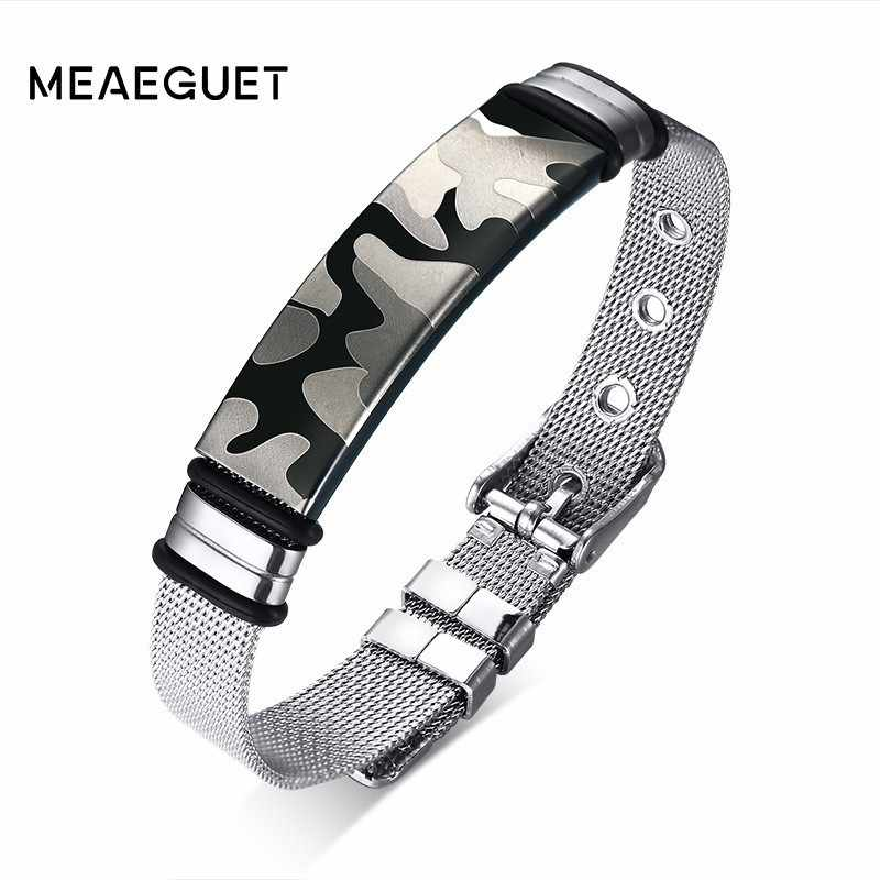 Men Bracelet Camouflage Stainless Steel Slide Buckle Cool Fashion Watch Brands Chain Link Soldier Military Anniversary Gifts
