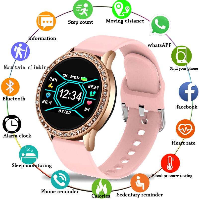 Smart Watch Women Noble Diamond Watch Waterproof Sports Fitness Tracker Heart Rate Blood Pressure Monitor Pedometer smartwatch