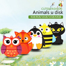 Mini lindo pingüino de dibujos animados bolígrafo de búho drive GB/8 GB/16 GB/32 GB usb flash drive 64GB 128GB 256GB pendrive usb stick