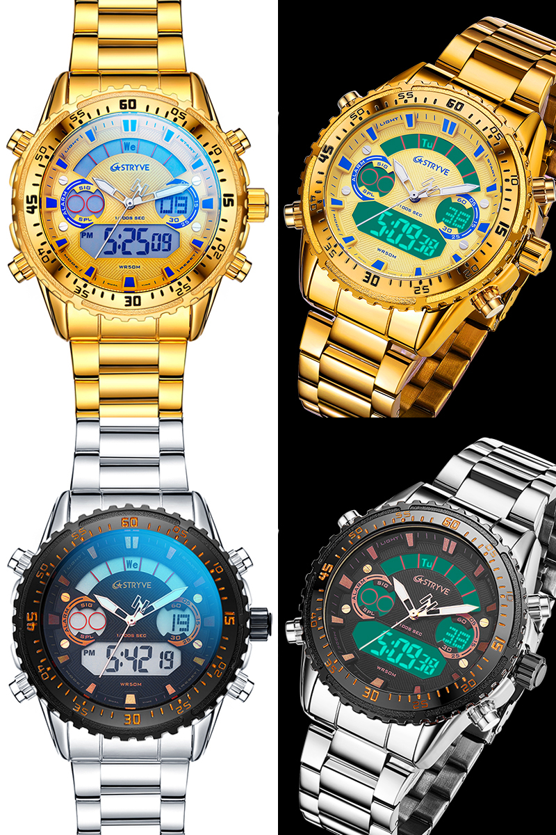 IsMyStore: Men Watch Stainless Steel 2020 New Stryve Luxury Dual Display Waterproof Quartz Digital Watch reloj hombre