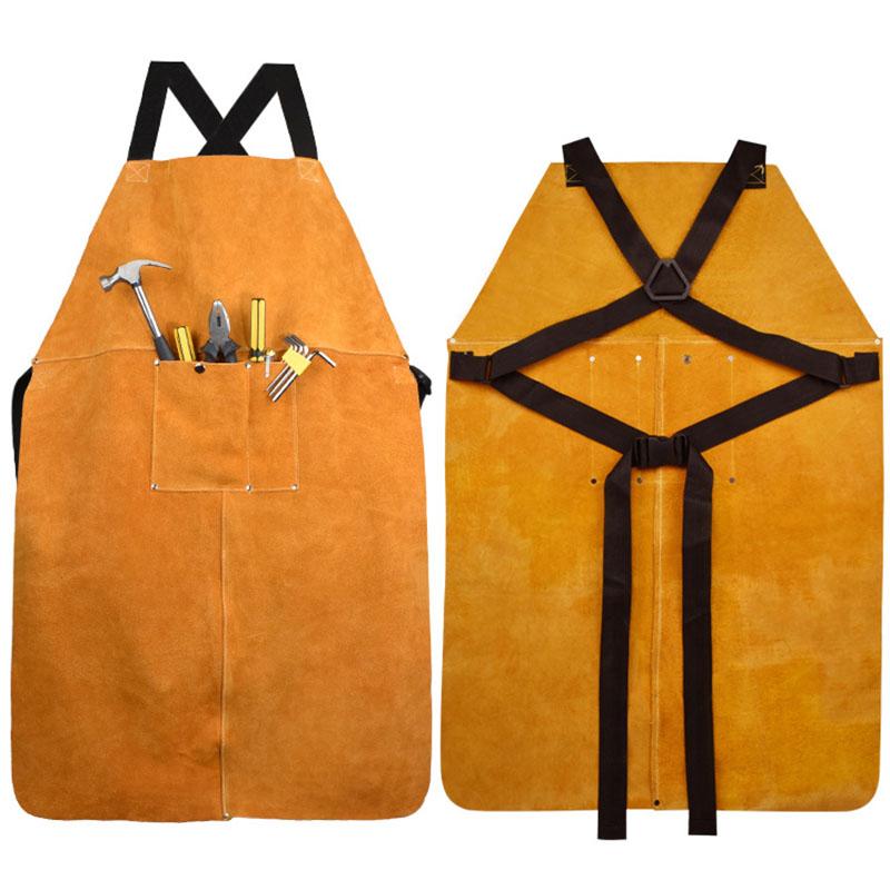 Cow Leather Apron Welding Heat Insulation Protection Welders Blacksmith 90x60cm High Temperature Apron Anti-scalding Aprons