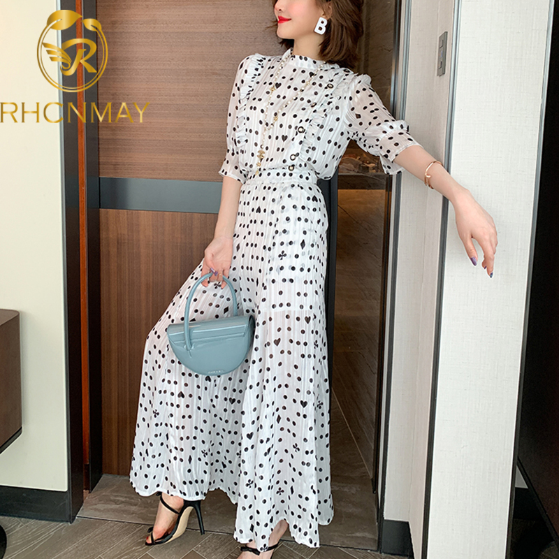 New Fashion Women Polka Dot Trousers Suit Summer Chiffon O Neck Ruffles Shirt + Holiday Ladies Pleated Wide-Leg Length Pants Set