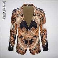 Роскошный Блейзер с золотым принтом мужская элегантная одежда