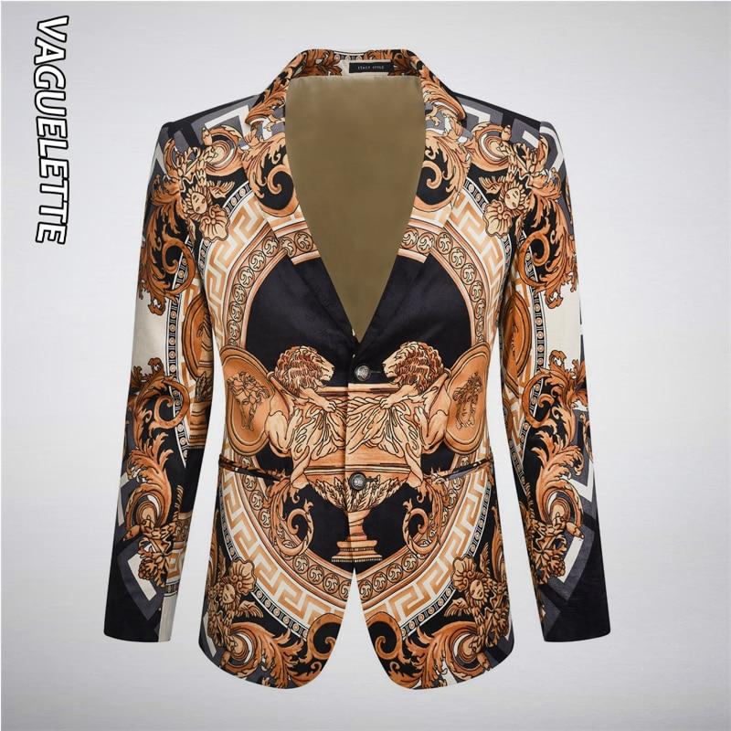 VAGUELETTE Luxury Golden Printed Blazer Men Elegant Stage Party Wear Fashion Velvet Men Blazers Slim Fit Wedding  Jacket Coats