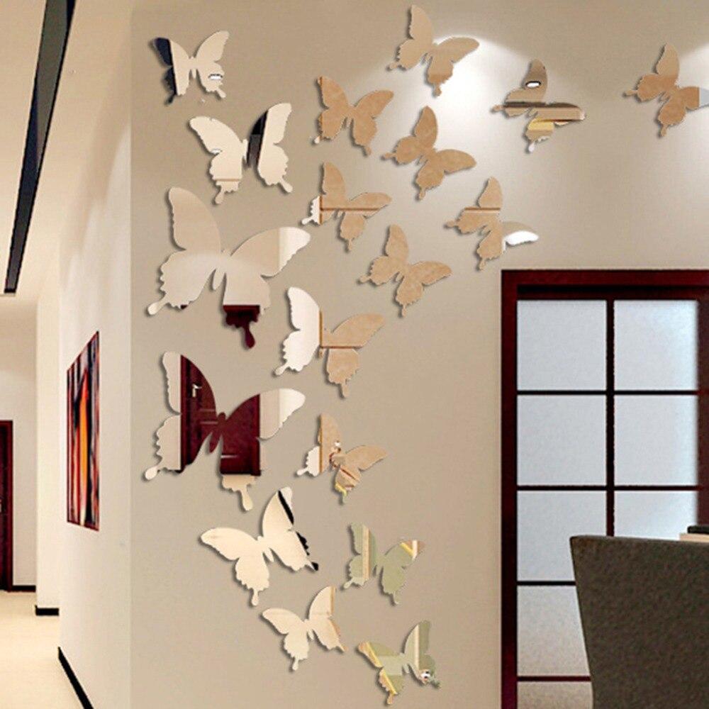 12 шт., зеркальные наклейки на вечерние у в виде бабочек