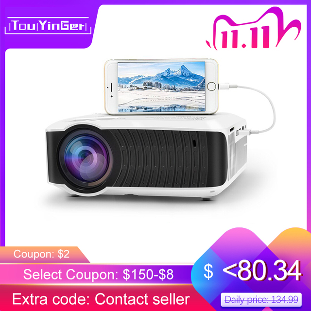 TouYinger T4 جهاز عرض صغير LED HDMI 1280x720 المحمولة متعاطي المخدرات USB السينما المنزلية (اختياري السلكية مزامنة عرض هاتف لوحي)
