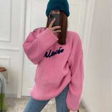 Winter Sweater Pullover Women Designer Fashion Luxury Brand Letter Long-Sleeve Pink Solid-Color