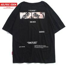 Aelfric Eden Hip Hop Streetwear Shirt Mannen 2020 Zomer Tijd Vliegt Print Korte Mouw Hawaiian Tops Tees Man Katoenen T shirts zwart