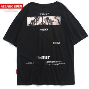 Image 1 - Aelfric Eden Hip Hop Streetwear Shirt Mannen 2020 Zomer Tijd Vliegt Print Korte Mouw Hawaiian Tops Tees Man Katoenen T shirts zwart