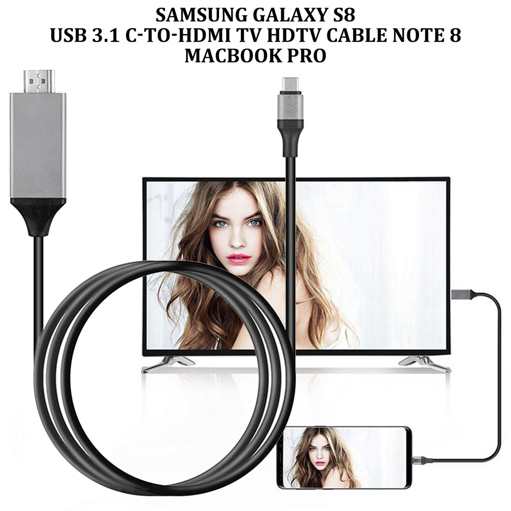 Type-C USB-C To HDMI HDTV 4K Cable For Samsung For Galaxy Note 8 9 S10+ Plus