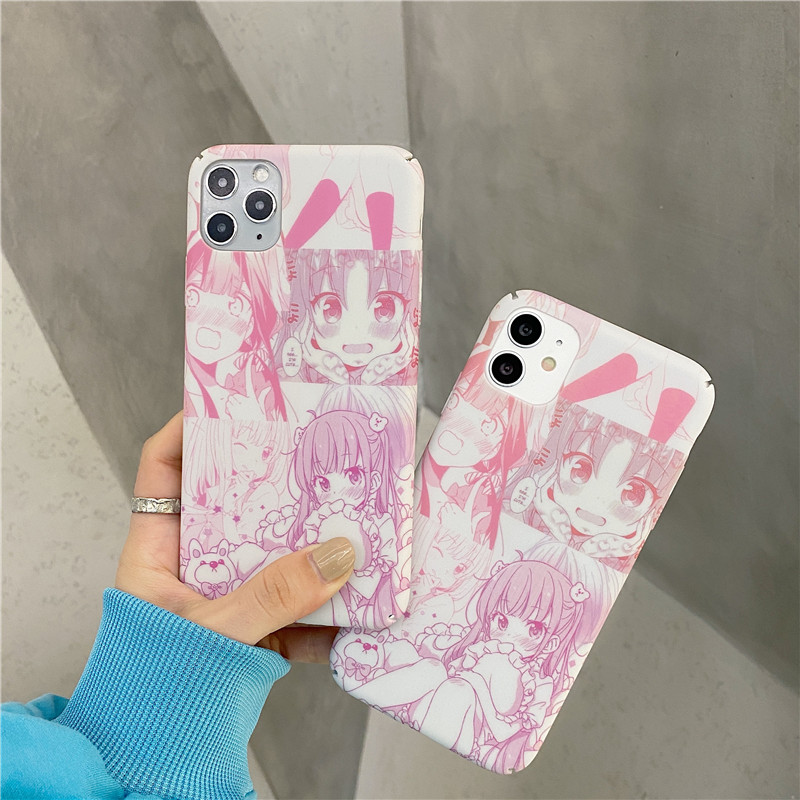 GYKZ Cartoon Japan Anime Girl Phone Case For iPhone 11 Pro 12 XS MAX XR 7 SE 2020 8 Plus Hrad PC Cover Matte Coque Slim Fundas