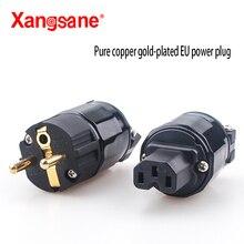 Xangsane Hi Fi 1ชุด24K Gold Platedปลั๊กไฟEUปลั๊กสีแดงทองแดงชุบทองpower Plug