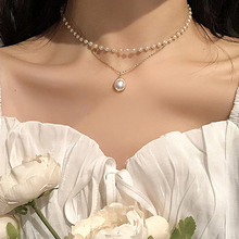Pearl Choker Chain-Pendant Women Jewelry Necklace Cute Girl Gift SUMENG Double-Layer