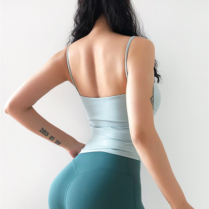running - Mermaid Curve Sexy Low-Cut Sports Tank Women Thin Shoulder Strap Gym Sports Running Jogger Vest With Padded Women Sexy Camisole