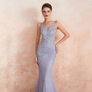Image 4 - Youxi luxo frisado cristal vestidos de noite 2020 sexy puro pescoço lavanda sereia formal do baile de formatura para as mulheres sem mangas