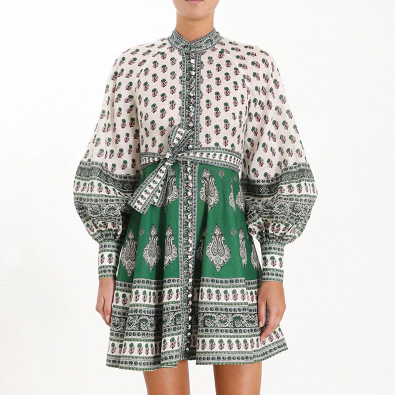 2019 New Contrasting Printing Dress Standing Neck High Waist Lace Bubble Long Sleeve dress Puff Sleeve Print Dresses Women in Dresses from Women 39 s Clothing