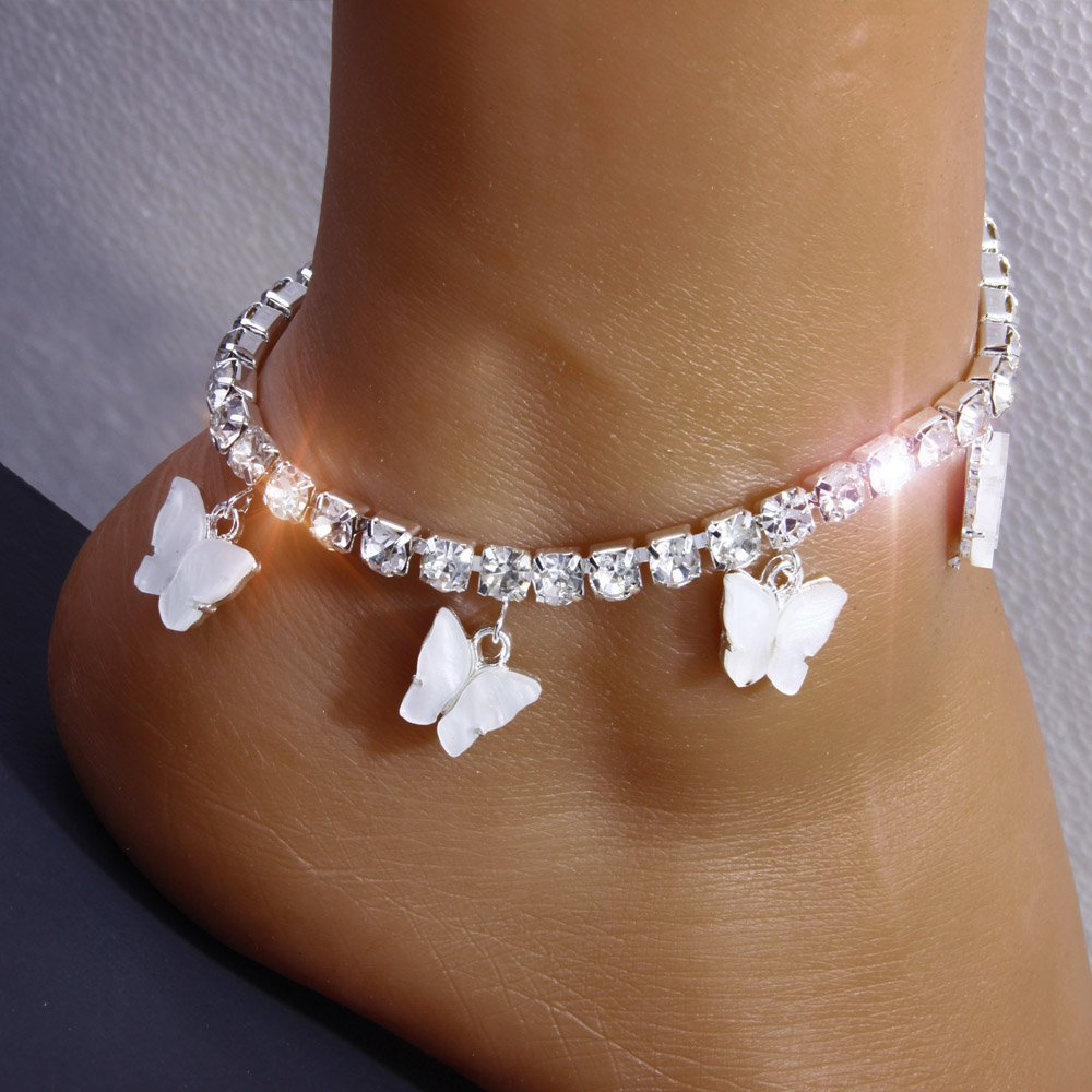 StoneFans Pink Rhinestone Crystal Ankle Bracelet Boho Beach Anklets for Women Sandals butterfly chain anklet Foot Jewelry