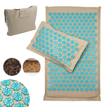 Coconut Fiber Lotus Spike Acupuncture Mat Set Back Body Foot Massage Mat Pillow Stress Relief Yoga Massager Cushion Shiatsu