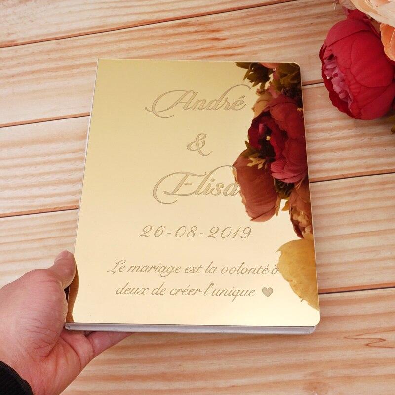Espejo acrílico personalizado, libro de invitados blanco, libro de invitados de boda, libro de firmas de invitados, evento de bautismo personalizado y decoración de fiesta, regalos